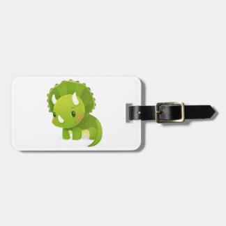 green baby cute dinosaur cartoon tag for bags