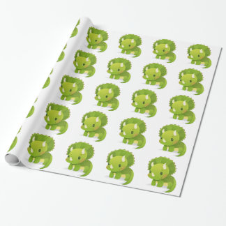 green baby cute dinosaur cartoon wrapping paper
