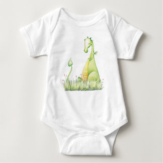 Green Baby Dragon in Grass Bodyshirt Baby Bodysuit