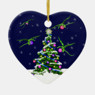 Green Baby Dragons Encircle a Christmas Tree Ceramic Heart Decoration