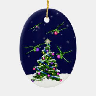 Green Baby Dragons Encircle a Christmas Tree Christmas Tree Ornament