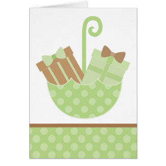 Green Baby Gifts in Umbrella Note Card