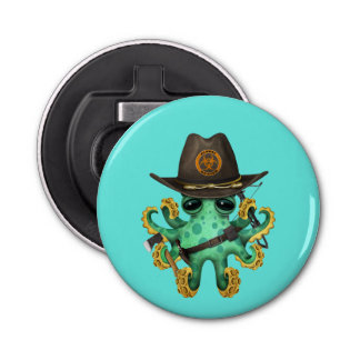 Green Baby Octopus Zombie Hunter Bottle Opener