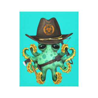 Green Baby Octopus Zombie Hunter Canvas Print