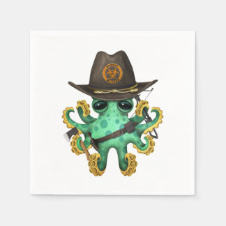 Green Baby Octopus Zombie Hunter Disposable Napkins