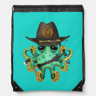 Green Baby Octopus Zombie Hunter Drawstring Bag