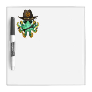Green Baby Octopus Zombie Hunter Dry Erase Board