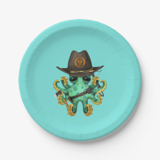 Green Baby Octopus Zombie Hunter Paper Plate