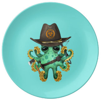 Green Baby Octopus Zombie Hunter Plate