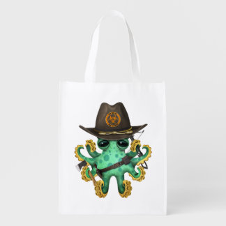 Green Baby Octopus Zombie Hunter Reusable Grocery Bag