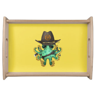 Green Baby Octopus Zombie Hunter Serving Tray