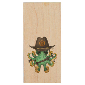 Green Baby Octopus Zombie Hunter Wood USB Flash Drive