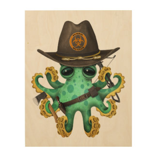 Green Baby Octopus Zombie Hunter Wood Wall Decor