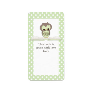 Green Baby Owl on Book Gift Bookplate Label Address Label