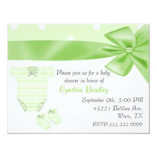 "Green Baby shower invitation 4.25"" X 5.5"" Invitation Card"