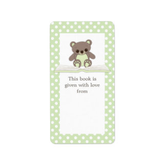 Green Baby Teddy Bear on Book Gift Bookplate Label Address Label