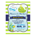 Green Baby Whale, Boy Baby Shower Invitation Postcard