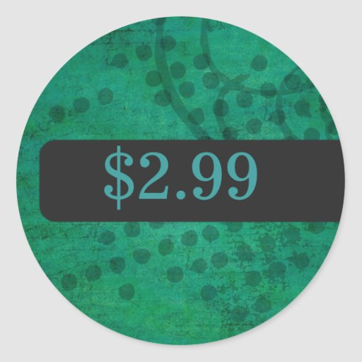 Green Background Price Tag Stickers