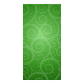 Green Background Swirls Customised Photo Card