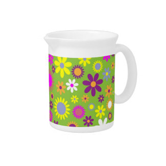 Green background with colorful blossoms pitcher
