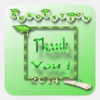 Green Balloons Graduation Thank You envelope seal Sticker
