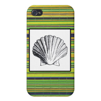 Green Bamboo and Clam Seashell iPhone 4/4S Cover