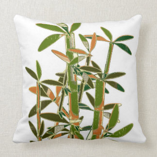 Green bamboo  isolated on white background throw cushions