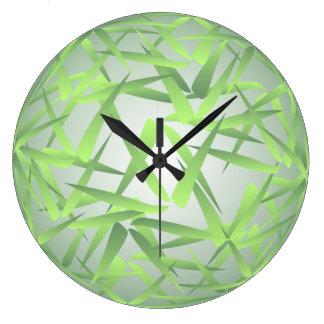 Green Bamboo Leaf Pattern Wall Clock