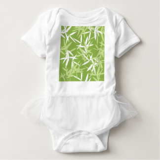 Green Bamboo Leaves Unique Pattern Baby Bodysuit