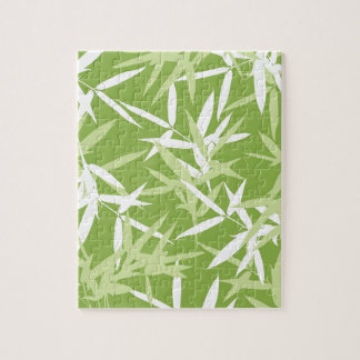 Green Bamboo Leaves Unique Pattern Jigsaw Puzzle