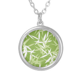 Green Bamboo Leaves Unique Pattern Silver Plated Necklace