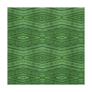 Green Bamboo Modern Diamond Pattern Stretched Canvas Print