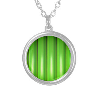 Green bamboo set silver plated necklace