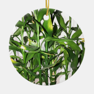 Green bamboo shoots and leaves round ceramic decoration