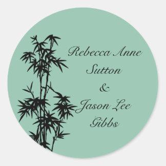 Green Bamboo Wedding Stickers