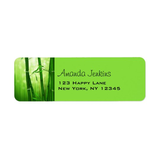 Green Bamboo With Pale Bokeh Lights In The Back Return Address Label