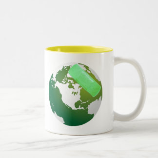 Green Bandaided Earth Cup Two-Tone Mug