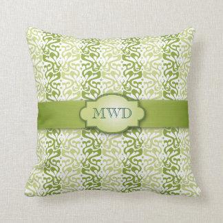 Green Banded Pattern Monogram Cushion
