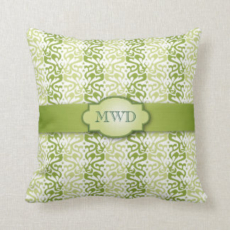 Green Banded Pattern Monogram Throw Pillow