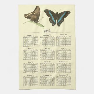 Green-banded Swallowtail Butterfly, 2013 calendar Hand Towels