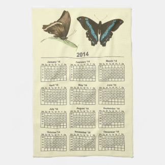 Green-banded Swallowtail Butterfly, 2014 calendar Hand Towels