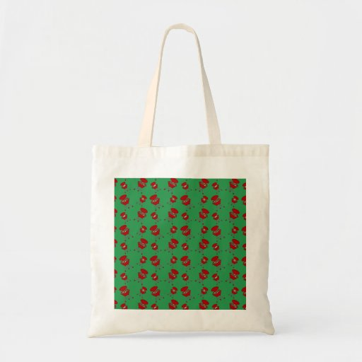 green barbeque pattern canvas bags