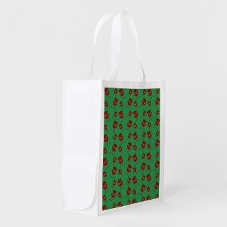 Green barbeque pattern grocery bag