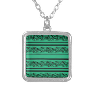 Green barbwire silver plated necklace