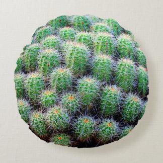 green barrel cactus round pillow