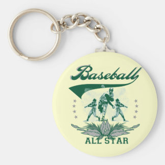 Green Baseball All Star T-shirts and Gifts Basic Round Button Key Ring