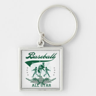 Green Baseball All Star T-shirts and Gifts Silver-Colored Square Key Ring