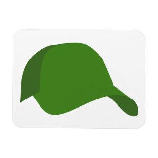 Green baseball cap rectangular magnet
