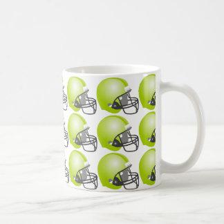 green baseball helmet for baseball fun. White back Coffee Mug