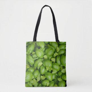 Green basil leaves tote bag